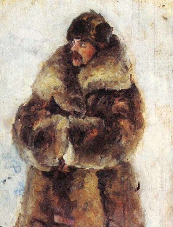 Surikov: A.I. Surikov in a fur coat (estudo para pintura)