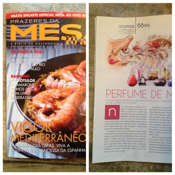 Perfumes para jantar: o 1 nariz está na revista Prazeres da Mesa